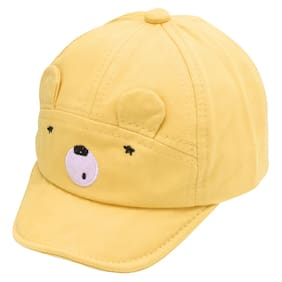 Pokory Caps for Kids Yellow Soft Cotton with Adjustable Cap from 6 months to 3 years|For Boy Girl Children|C123 Teady Bear Series