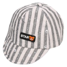 Pokory Caps for Kids Black White Soft Cotton with Adjustable Cap from 6 months to 3 years|For Boy Girl Children|C147 Star Bear Series