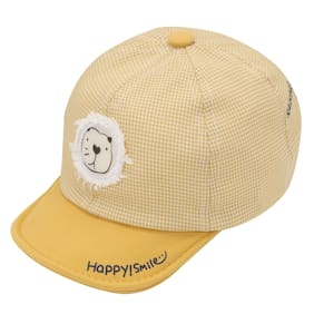 Pokory Caps for Kids Yellow Soft Cotton with Adjustable Cap from 6 months to 3 years|For Boy Girl Children|C126 Happy Smile Series