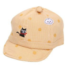 Pokory Caps for Kids Yellow Soft Cotton with Adjustable Cap from 6 months to 3 years|For Boy Girl Children|C137 Black Cat Series