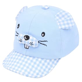 Pokory Caps for Kids Blue Soft Cotton with Adjustable Cap from 6 months to 3 years For Boy Girl Children C133 Elegant Series
