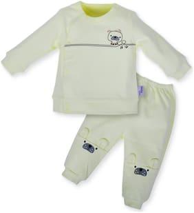 POKORY Unisex Cotton Printed Body suit - Yellow