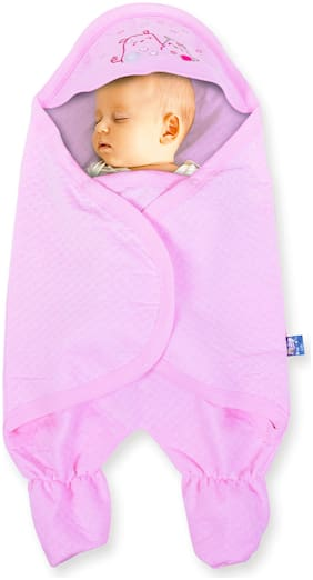 Pokory Warm Wrap New Born Infant Baby Girls and Boys Luxury Soft Warm Wrapper Cover Winter Blanket Cum Quilt Towel Sleeping Bag Wrap for 0 to 12 Months -Pink