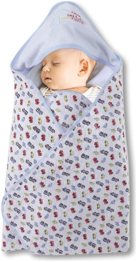 Pokory,Wrap for New Born Pack of 1 Blue Color Infant Baby Girls and Boys Luxury Soft Wrap for Warm Cover Winter Blanket Cum Quilt Sleeping Bag Wrap for 0 to 12 Months