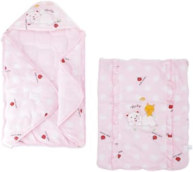 Pokory,Wrapper cum Quilt for New Born Infant Baby Girls and Boys Luxury Soft Wrap for Warm Cover Winter Blanket Cum Quilt Sleeping Bags Wrap for 0 to 12 Months