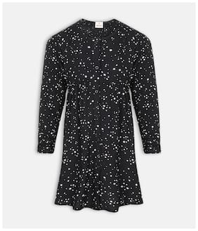 Oxolloxo Black Polyester 3/4th Sleeves Midi Princess Frock ( Pack of 1 )