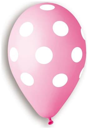 "Polka Dot Balloons Pink 12"" Dia x 20 pieces"