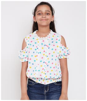 Oxolloxo Girl Viscose rayon Polka dots Top - White