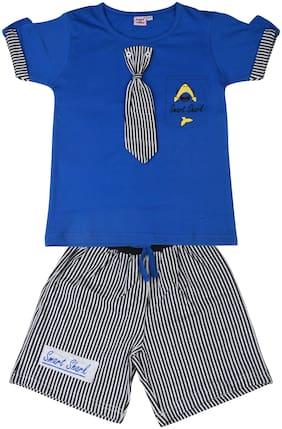 POMY & JINNY Cotton Printed Top & Bottom Set - Blue
