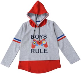 POMY & JINNY Boy Cotton Printed Sweatshirt - Grey