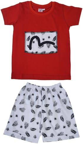 POMY & JINNY Cotton Printed Top & Bottom Set - Red & White