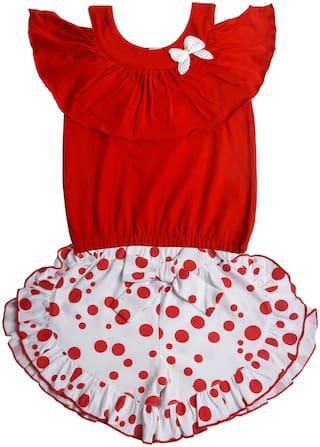 POMY & JINNY Girl Cotton Top & Bottom Set - Red & White
