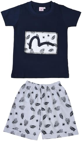 POMY & JINNY Cotton Printed Top & Bottom Set - Blue & White