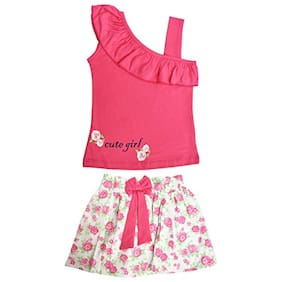 POMY & JINNY Girl Cotton Top & Bottom Set - Pink & White