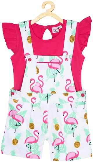 POMY & JINNY Printed Dungaree For Baby Boys & Baby Girl Pink