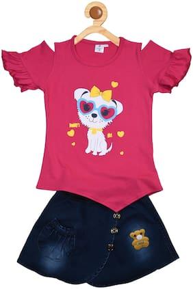 POMY & JINNY Girl Cotton Top & Bottom Set - Pink & Blue