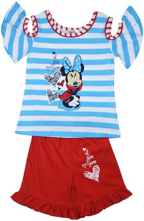 POMY & JINNY Girl Cotton Top & Bottom Set - Blue & Red