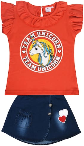 POMY & JINNY Girl Cotton Top & Bottom Set - Orange & Blue