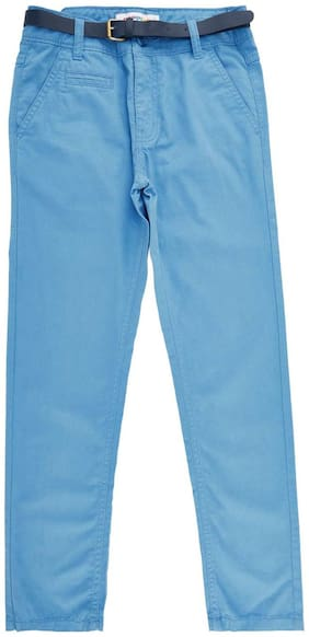 Poppers by Pantaloons Boy Solid Trousers - Blue