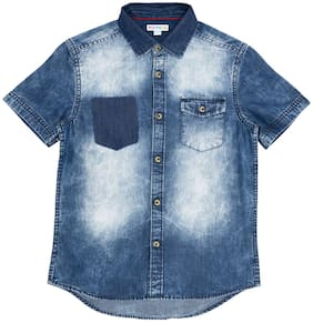 Poppers by Pantaloons Boy Cotton Solid Shirt Blue