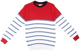 Poppers by Pantaloons Boy Acrylic Solid Sweater - Red