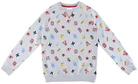 Poppers by Pantaloons Boy Cotton Solid Sweatshirt - Grey
