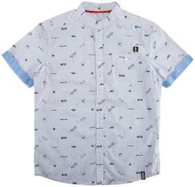 Poppers by Pantaloons Boy Polyester Printed Shirt White