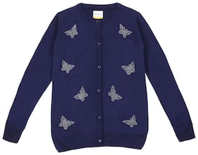 Poppers by Pantaloons Girl Cotton Printed Sweater - Blue
