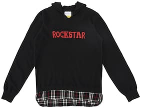 Poppers by Pantaloons Boy Acrylic Solid Sweater - Black