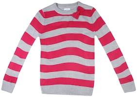 Poppers by Pantaloons Girl Cotton Striped Sweater - Pink