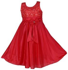 Poticcu Red Satin Sleeveless Maxi Princess Frock ( Pack of 1 )