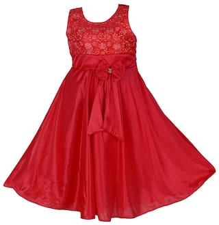 POTICCU Cute Baby Girl's Lycra Party Wear Frock Dress
