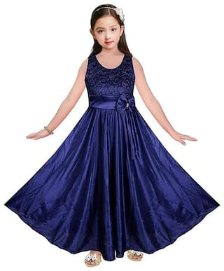Poticcu Satin Blue Embroidered Princess Frock  For Girl