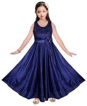 Poticcu Blue Satin Sleeveless Maxi Princess Frock ( Pack of 1 )