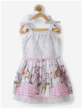 Powderfly Grey & Pink Cotton Sleeveless Knee Length Princess Frock ( Pack of 1 )