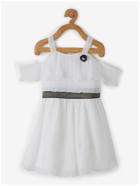 Powderfly Baby girl Georgette Solid Princess frock - White