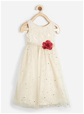 Powderfly Girl's White Satin Embroidered Sleeveless Dress