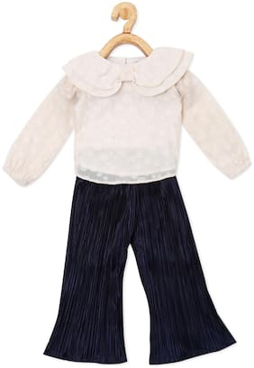 Powderfly Girl Georgette Top & Bottom Set - Beige