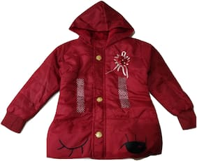 Pratishtha Creations Girl Polyester Printed Winter jacket - Red
