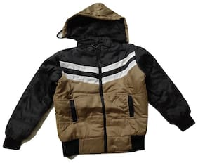 Pratishtha Creations Boy Polyester Colorblocked Winter jacket - Beige