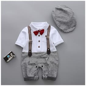 Si Noir Baby boy Cotton Checked Romper - Grey