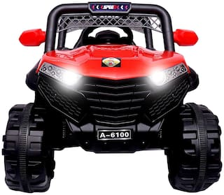 Premium Goods Pro Electric Rechargeable Red Jeep car - 2-4 years , Bis certified