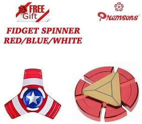 Premsons Fidget Spinner Top Quality Metal Hand Toy, Red/Gold with Free Gift Metal Fidget Spinner, Red/Blue/White