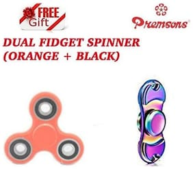 Premsons Metal Dual Fidget Spinner, Metallic Rainbow with Dual Color Unique Fidget Hand Spinner, Orange/Black