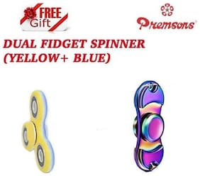 Premsons Metal Dual Fidget Spinner, Metallic Rainbow with Dual Color Unique Fidget Hand Spinner, Yellow/Blue