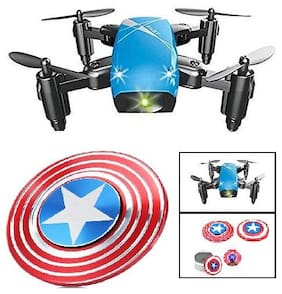 Premsons RC Drone Foldable S9 Mini Pocket Quadcopter Remote Control Headless Mode A Key Return High & Low Speed Switching With Surprise Gift (No Camera - Blue)