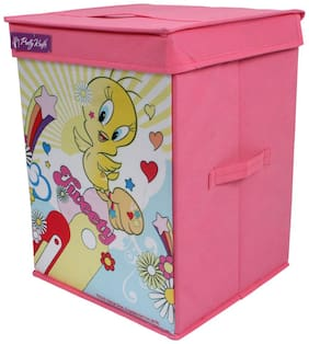 PrettyKrafts Tweety Toy Organizer Storage Box with Top Lid for Baby Boy's and Baby Girl's (Standard size, Pink)