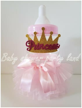Princess Crown Centerpiece Bottle Large Baby Shower Piggy Bank Girl Decorations