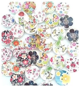 Printed Wooden Buttons ,Round Size , Used In Dresses , Handicraft , Art & Craft , Scrap Booking , Decorations , Set Of 40 Buttons , 2.5 cm Dia.