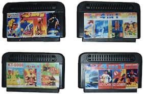 PTCMart 8 Bit tv Video Game Cassettes games including mix numbers ( Set Of 4 Multicolor)